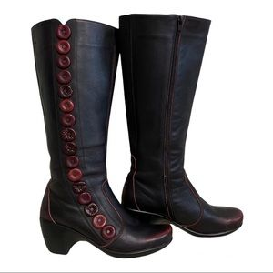 NAOT Exotic Tall Leather Boots Brown/Red sz 39